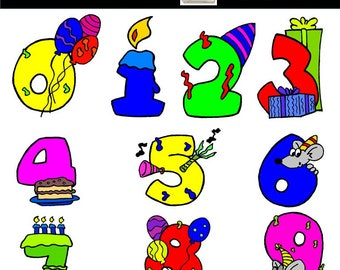 Birthday Numbers Clipart, Birthday Numbers, Birthday Candles, Balloons, Cake, Birthday Numbers Clip Art, Commercial Use