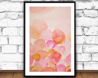 Pink Rose Print, Watercolor Abstract Wall Art, Pink Home Decor Printable, Ink Brush Abstract, Rustic Home Decor, Pink Wall Art, Instant File