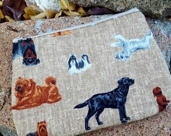 Dog Cosmetic Bag, School Supplies Bag, Dog Zipper Bag, Cosmetic Bag, Candy Bag, Money Pouch, Pencil Pouch