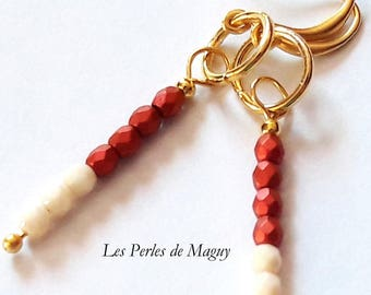 Earrings color gold, red and cream