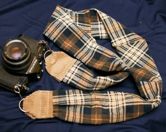 Flannel/Plaid Soft Camera Strap with Pocket