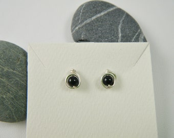 Onyx Studs, Argentium Sterling Silver Wire posts, rubber backs