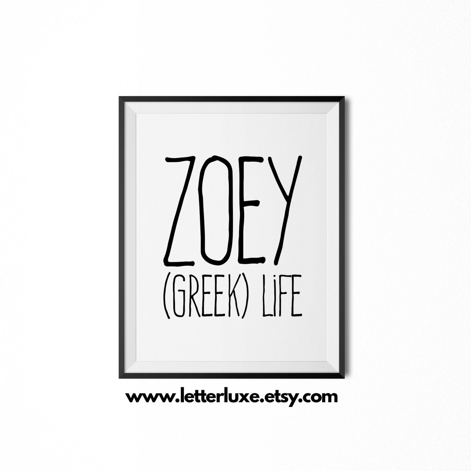 Zoey name meaning art printable baby shower gift nursery zoom negle Gallery