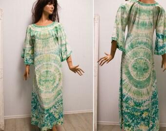 70s Tie Dye green blue Psychedelic Caftan dress long boho hippie festival Tie Dye Angel Sleeve Caftan dress/S