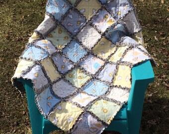 Baby Animal Rag Quilt Baby/Lap/Throw Quilt