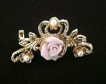 Vintage Pink Porcelain Rose Brooch