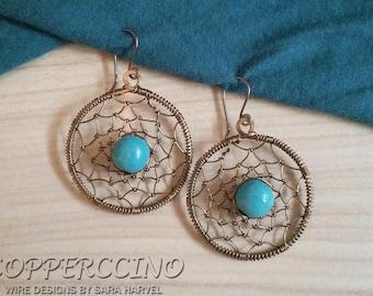 Brass Dreamcatcher Earrings