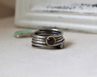 Oxidized Sterling Silver with 18k yellow gold, Mookaite and white cz - Size 8 - READY TO SHIP - Gemstone red handmade jewelry