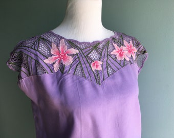 70s/80s Lilac Purple Summer Dress//Hawaiian/Polynesian Inspired//M