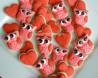 Valentines day - Owl cookies and Hearts - Valentine Cookies - 2, 3, or 4 dozen MINI decorated cookies - FEATURED on Etsy Finds