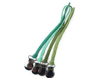 Green / Forest Green / Mint Green / Braided Faux Suede Leather | Pacifier Clip / Binky Clip / Dummy Clip / Soother Clip / Teether Clip