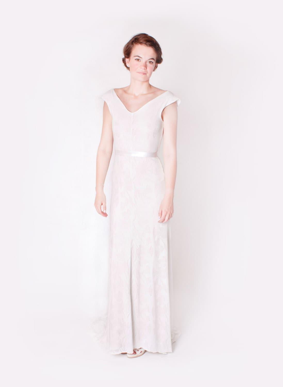 Floral Ivory einfache Jersey Hochzeit Kleid mit Rücken