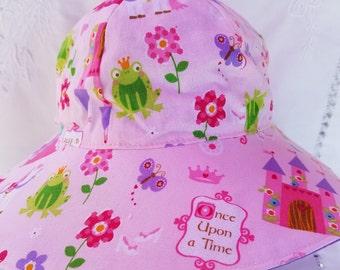 Reversible toddler sunhat, handmade  12 - 24 mo.