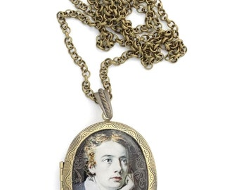 John Keats Locket & Gift bag, Romantic, Poet, Jewellery, Necklace, Gothic, Retro, Jewelry, Literary, Books, Literary, Literature, Gift