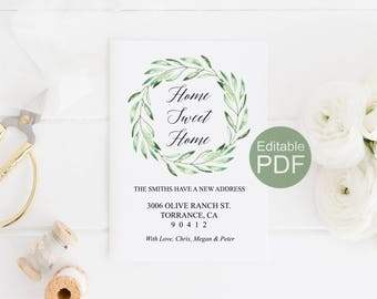 Rustic Moving Announcement Template, Change of Address Card Printable, Home Sweet Home, Instant Download, Housewarming New Home We've Moved