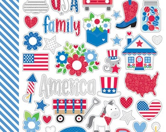 Yankee Doodle Mini Icon Stickers from Doodlebug Design - 2 Sheets