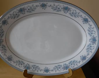 """Contemporary Fine China by Noritake 'Blue Hill' 2482 Oval Serving Platter, 14"""" x 10-1/4"""""""