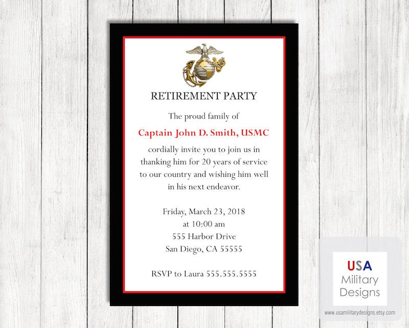 Marine Corps Retirement Invitation Printable Marine Corps