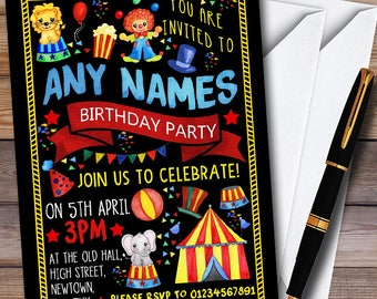 Black Kids Circus Carnival Clown Childrens Birthday Party Invitations
