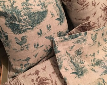 French Style Cushion with Vintage unused Toile and Linen Fabric