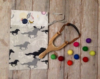 WOODEN Sling Shot with GIFT BAG and felt balls, old time toy, antique toy, unique child gift, wood slingshot, complete birthday gift set