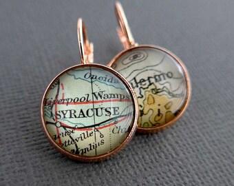 Personalized Earrings, Map Earrings, Custom Earrings, Personalized Womens Gift