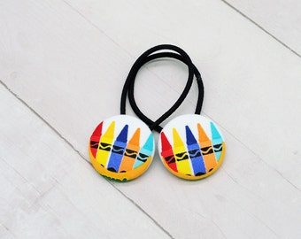Crayon Hair, Back to School Hair Tie, Art Elastic Hair Tie, Gift for Teacher, Pigtail Set, Button Ponytail Holder