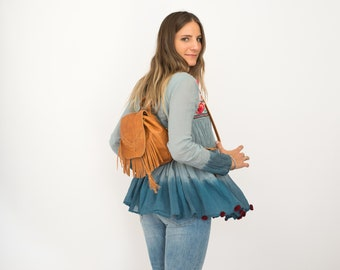 Mini backpack, Mini backpack women, hipster backpack, tan backpack, small leather backpack, mini fringed, boho style, distressed backpack