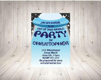 CUSTOMISABLE UFO Party Invitation BLUE
