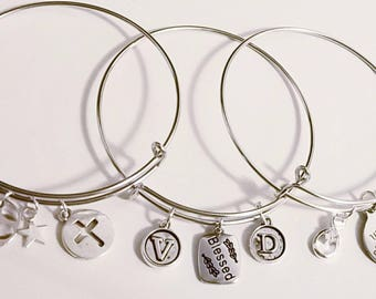 Blessed initial Bangle set