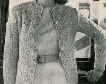 Vogue Knitting 1960 Classic Cable Cardigan Pattern Retro Mod Mad Men