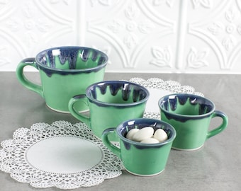 Set of 4 Mint Green / Blue Drips Ceramic Measuring Cup, Nesting Prep Bowls, Kitchen Gifts, Serving Home Decor Handmade Pottery