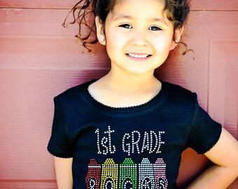 First Grade Rocks Rhinestone Shirt- Preschool Rocks OR Kindergarten Rocks Rainbow Crayons Perfect for 1st Day of School