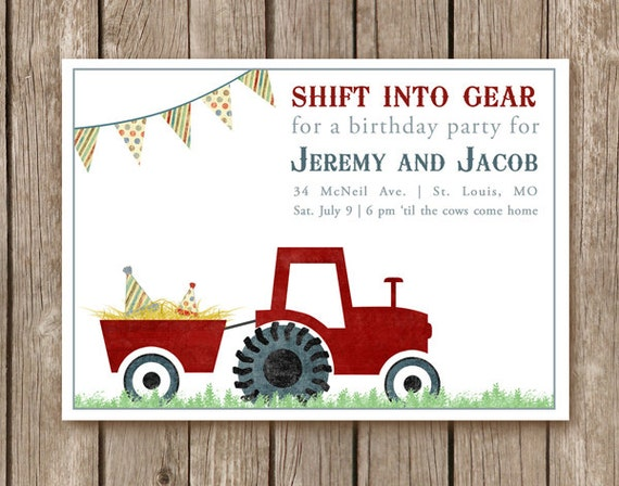 Items similar to printed tractor birthday party invitations and items similar to printed tractor birthday party invitations and envelopes farm party or for a farmer of any age 200 usd per invite min order 20 on filmwisefo