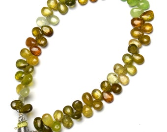 "Natural Gem Multi-Color Grossular Green Garnet 7x5MM Approx. Pear Shape Briolettes 8"" Full Strand Rare Gemstone Beads"