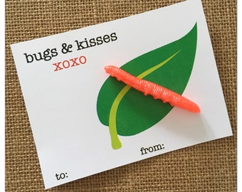 DIGITAL Bugs and Kisses Valentine Birthday Favour Thank You Tag Card Instant Download