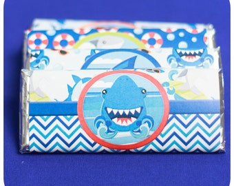 Shark; Shark Party; Shark Birthday Party; Shark Party Favors; Party favors;  Shark Candy Bar Wrappers; PDF Shark Candy Bar Wrappers