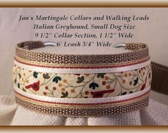 Small Dog Martingale Collar and Leash Combination Walking Lead, tan, Italian Greyhound