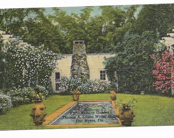 Vintage Florida Linen Postcard Fort Ft Myers Memory Garden Thomas Edison Winter Home USED