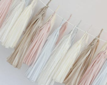 DIY paper tassel garland kit - Custom colors/ Tissue paper tassels / wedding party decorations / buntings / backdrop / birthday decor