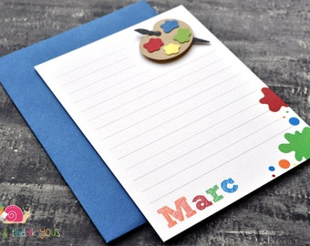 Painter's Palette Personalized Stationery · A2 FLAT · Blue Red Yellow · Coordinating Thank You Notes | Art Party | Artist