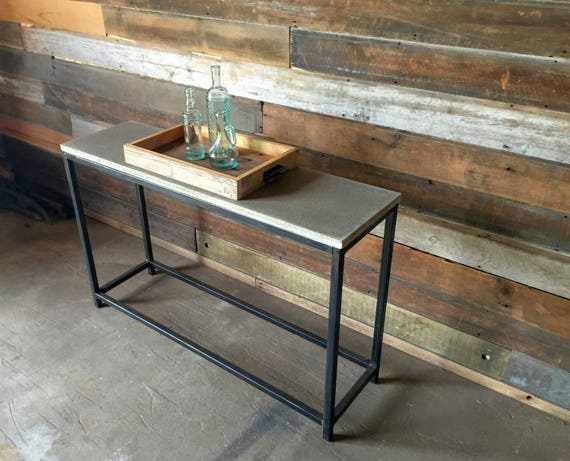 Marvelous Concrete Console Table Stoic Metal Frame Base