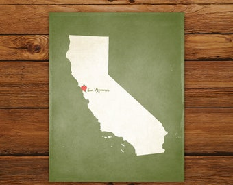 Customized Printable California State Map - DIGITAL FILE, Aged-Look Personalized Wall Art