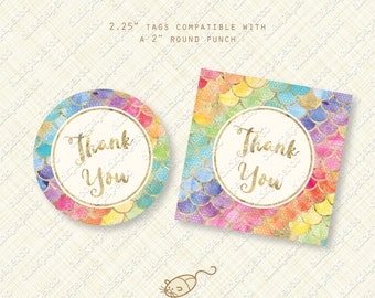 Rainbow Mermaid Thank You Tags printable favor tag fish scales instant download digital pdf pool party birthday baby shower ocean sea life
