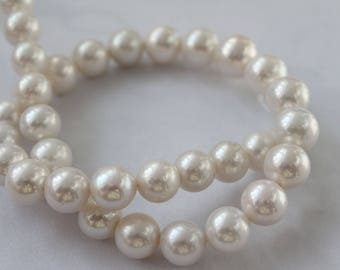 Large Graduated White Round Cultured Nucleated Freshwater Pearl, 12-15mm
