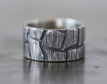 Rugged mens ring, size 9, sterling silver ring, sculptural, brutalist, partner ring, textured, carved, rough, alternative wedding, statement