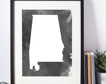 Home Decor, Wall Art, Watercolor, Alabama Black and White Art Print, Alabama Wall Decor,   Digital Download, Modern Art