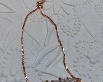CZ and rose gold leaf slider bracelet