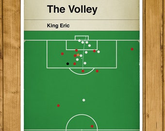 Manchester United goal in 1996 Cup Final - King Eric Volley - Eric Cantona Print - Classic Book Cover Poster - Football Gift (Various Sizes)