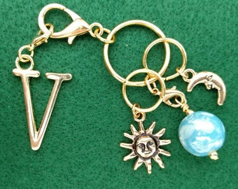 Sun, Moon, and Earth Key Chain, Purse Charm